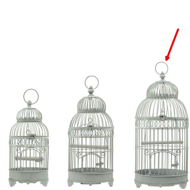 L'ORIGINALE Deco Grande Cage à Oiseau Ronde en Fer de Décoration Blanc 57 cm x ø25.50 cm