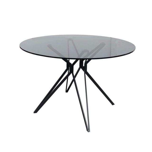 Meubletmoi Table ronde 120 cm avec plateau en verre - Viko