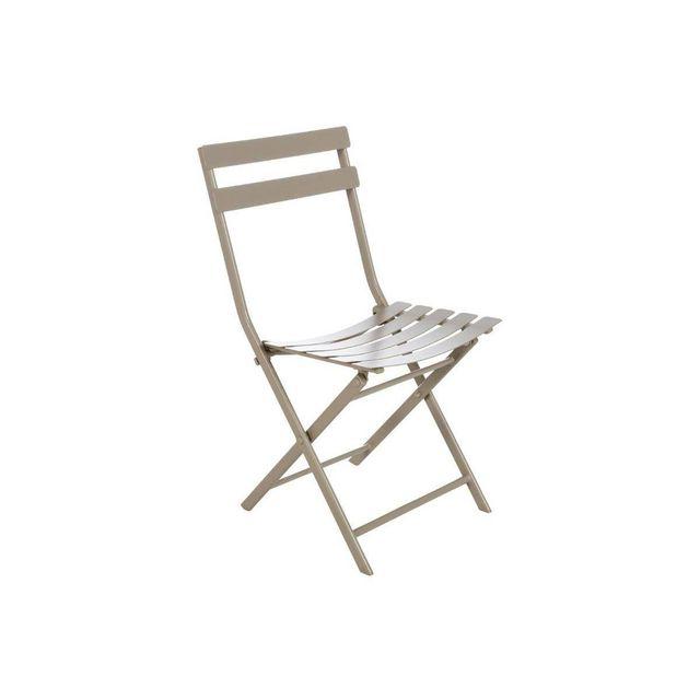 HESPERIDE - Chaise de jardin métal pliante Greensboro Taupe 1