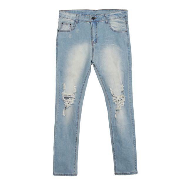 >Homme Ripped Straight déchiré Distressed Stretch Slim Fit Jeans Bleu M