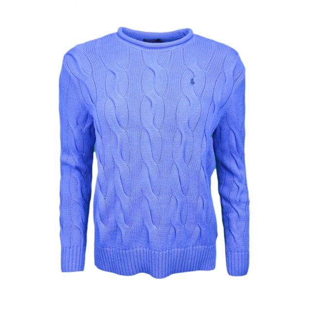 99ea84d6235 Ralph Lauren - Pull col rond roulotté torsadé bleu pour femme - pas cher  Achat   Vente Pulls femme - RueDuCommerce