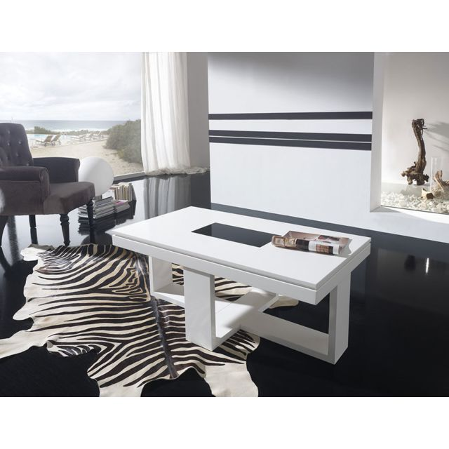 Sofamobili Table basse relevable blanc laqué design Josy