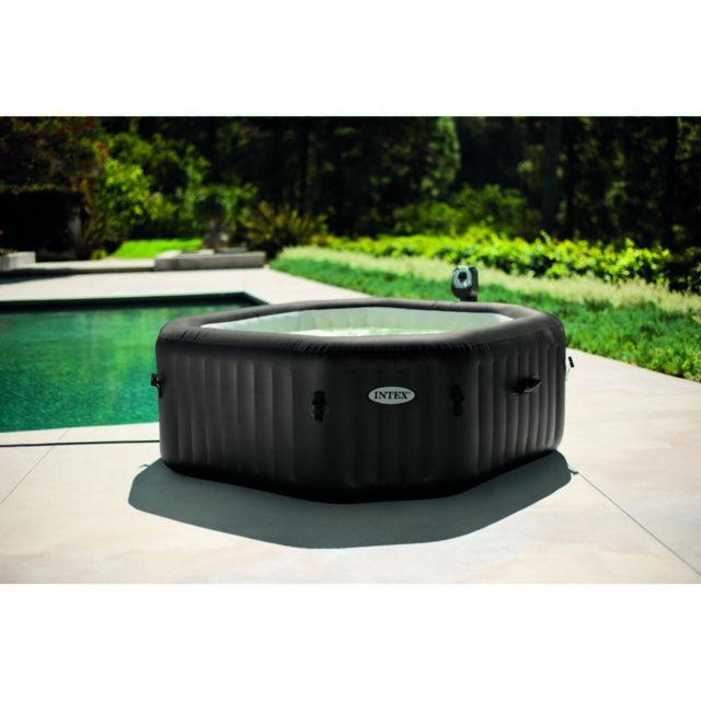 intex spa 4 places jets octogonal bulles ecosterilisateur 196 x 71 cm pas cher achat. Black Bedroom Furniture Sets. Home Design Ideas