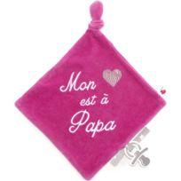 Bb&co - Doudou velours brodé mon coeur est à papa rose