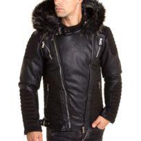 ee5445aeac4 BLZJEANS - Blouson aspect perfecto cuir et daim à capuche fourrure noir et  pointe beige