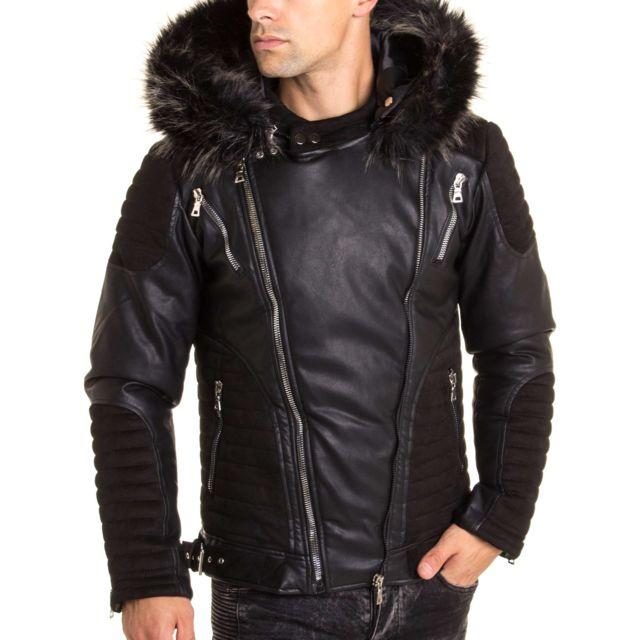 BLZ Jeans Blouson aspect cuir et daim à capuche fourrure