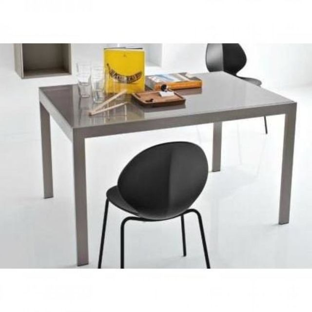 Inside 75 Table repas extensible Key 130x89 plateau verre grège