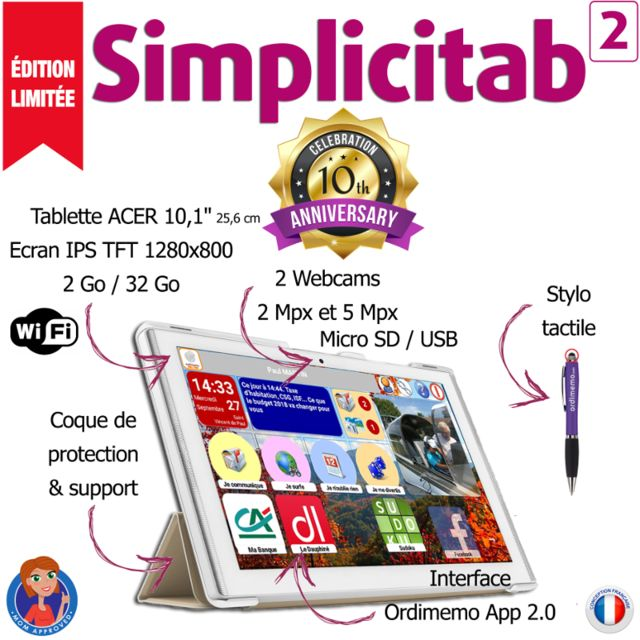 Ordimemo Tablette sénior Simplicitab 2 10.1
