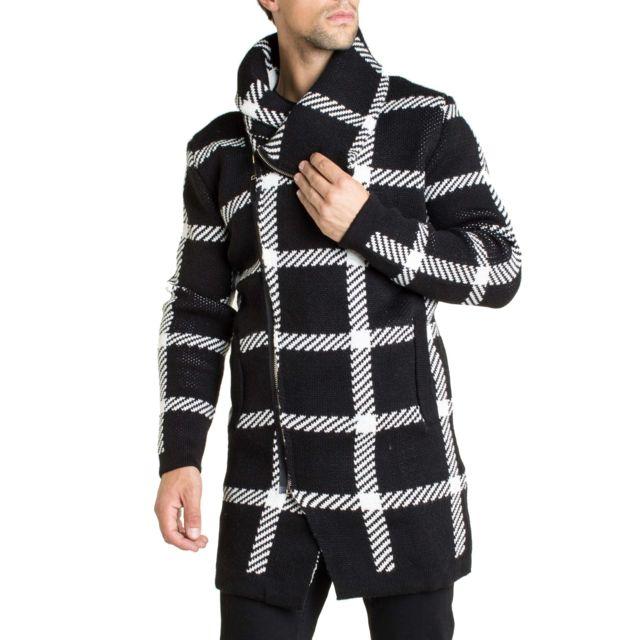 Enzo Di Capri Gilet cape grosse maille chaude en laine à motifs tendance pour homme