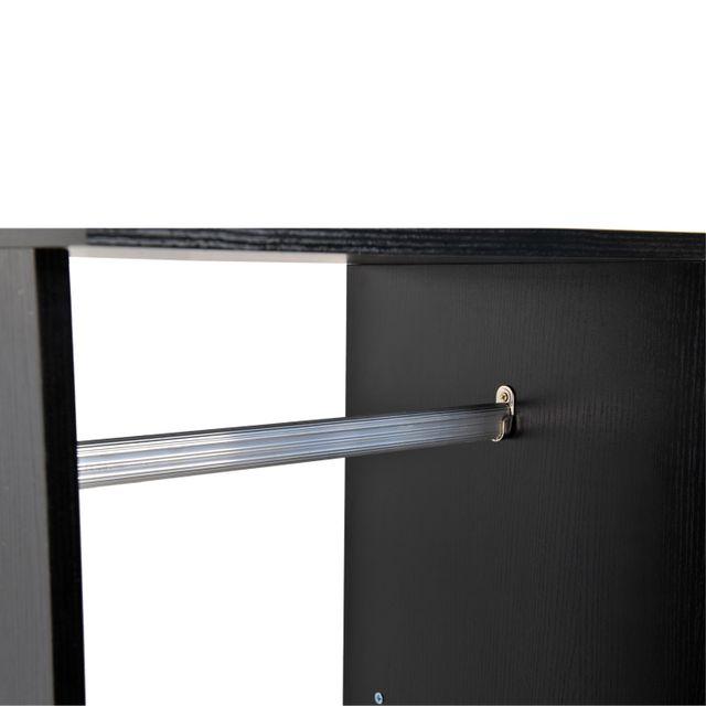 HOMCOM - Armoire penderie meuble de rangement en panneau de particule mobile avec 6 roulettes sans porte 120x40x128cm noir 01 125cm x 14cm x 44cm