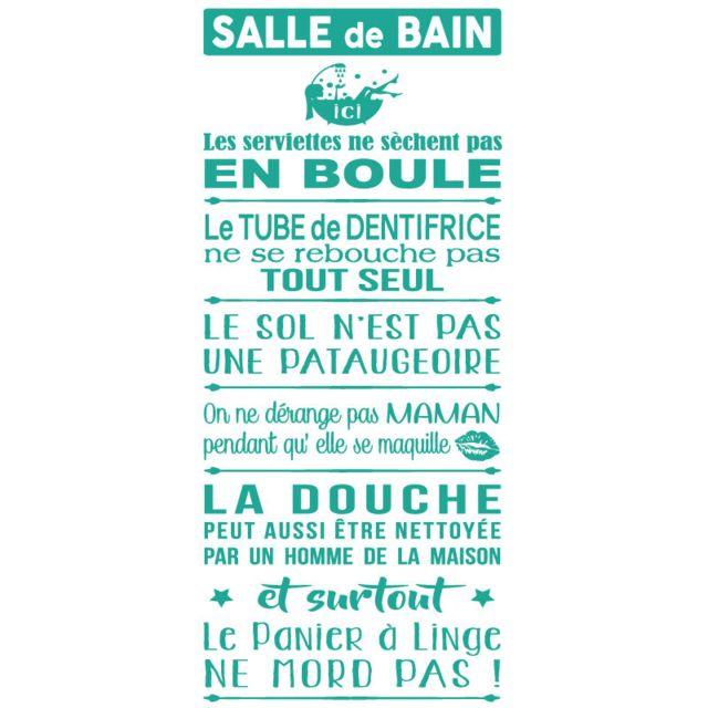 Sticker Texte - Les Règles De La Salle De Bains -1180x534 mm - Adhésif Mat  - Turquoise Clair