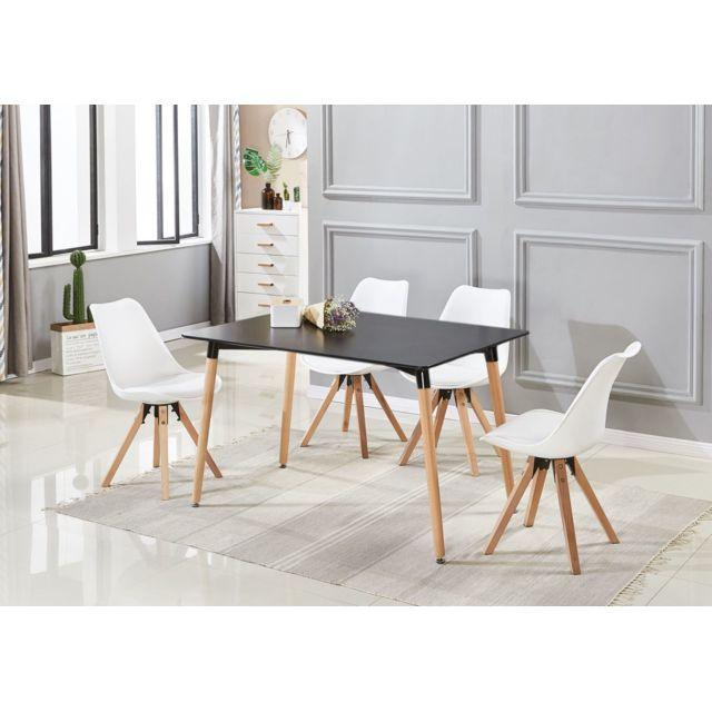 Ensemble Table Noire et 4 Chaises Blanches Scandinaves - Sofia Halo