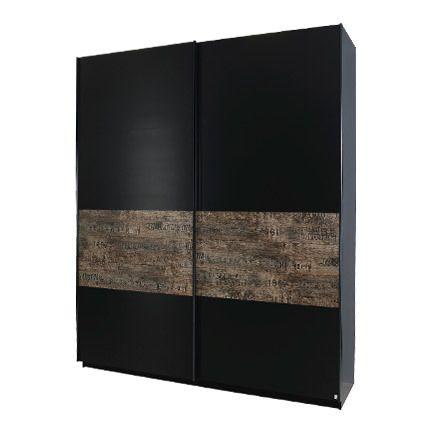 Armoire 225cm à portes coulissantes - noir et marron