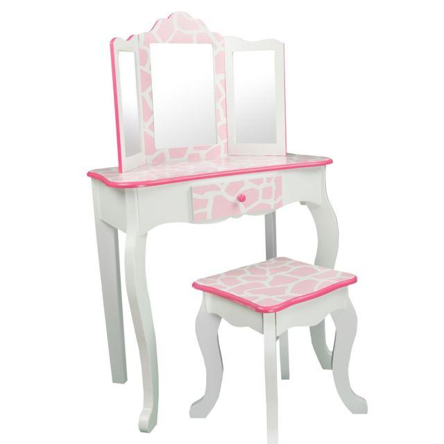 teamson kids teamson meuble coiffeuse table de maquillage enfant miroir tabouret rose blanc rosa