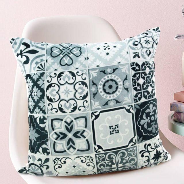 Mon beau tapis coussin carreaux de ciment noir blanc Tapis carreaux de ciment pas cher