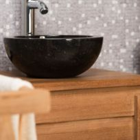Wanda Collection - Vasque Ronde Barcelone à poser en marbre de couleur Noir - Diamètre 30 cm