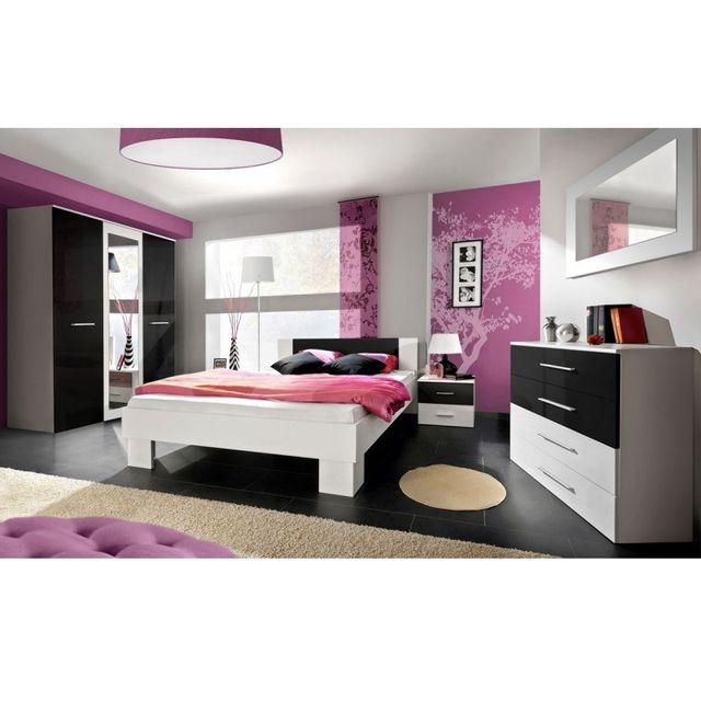Paris Prix Chambre Complète Adulte 6P Vicky 180x200cm Blanc & Noir