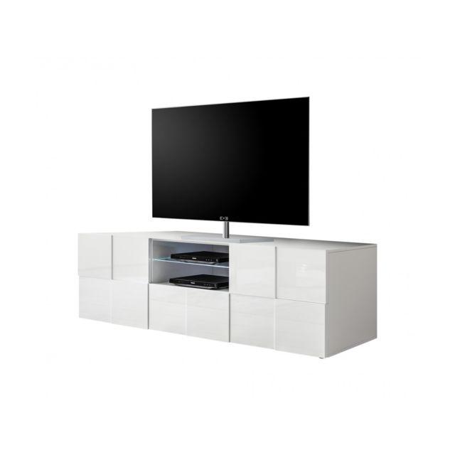 Subleem Meuble Tv 2 portes 1 tiroir Altamura blanc laqué brillant