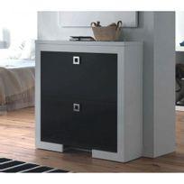Cubisl - Meuble A Chaussures - Laqué Blanc brillant, tiroirs Noirs - 90x29x92 - L unité
