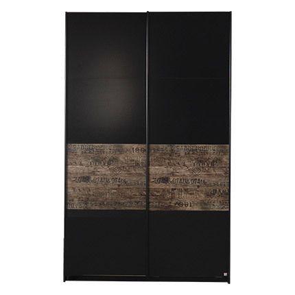 Armoire 136cm à portes coulissantes - noir et marron