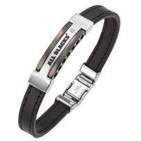 All Blacks Bijoux - Promo Bracelet All Blacks 682046 - Bracelet Noir Cuir Homme