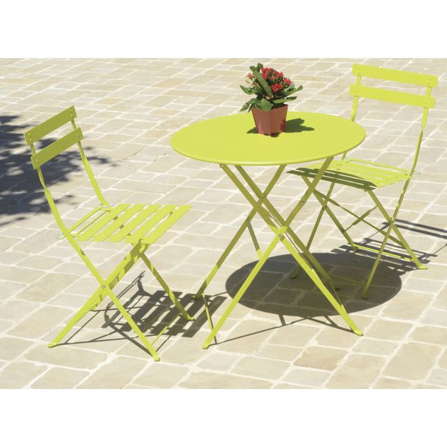 coloris chaises jardin en métal ronde vert PEGANE Table de N8vwn0mO