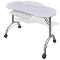 Rocambolesk - Superbe Table de manucure pliante blanche avec roulettes neuf