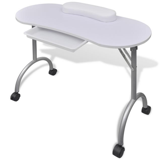 Vidaxl Table de manucure pliante blanche avec roulettes