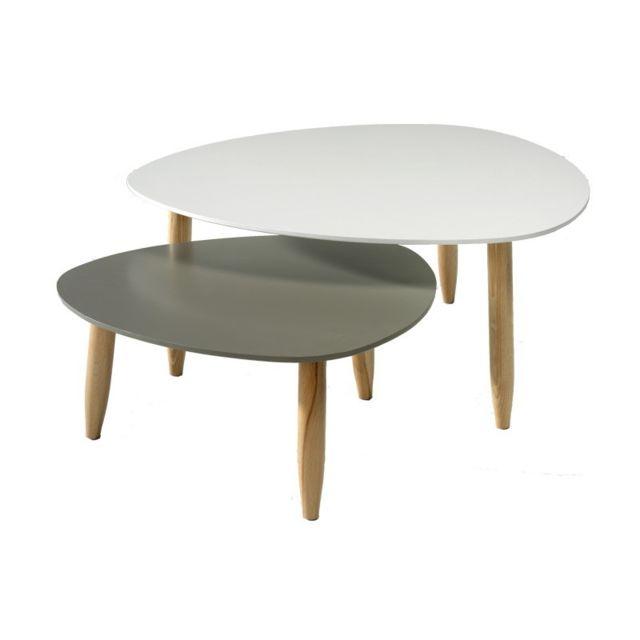 Tousmesmeubles Tables gigognes Blanc/Gris - Ovni - L 80 x l 80 x H 35