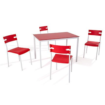 Ensemble table + 4 chaises coloris rouge