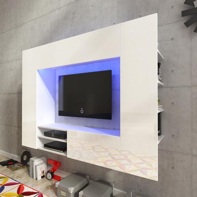 Vidaxl Unité murale de 169,2 cm en blanc brillant pour Tv Led