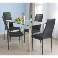 Ensemble table en verre et lot de 4 chaises noire de salle à manger
