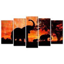 Hexoa - Elephant Tableau multi panneaux 150x80 cm orange