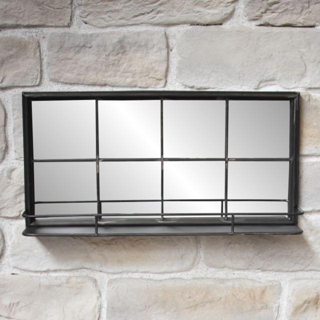 L'ORIGINALE Deco Miroir Industriel Etagère Fenêtre Long en Fer Métal 80x40x15,50 cm