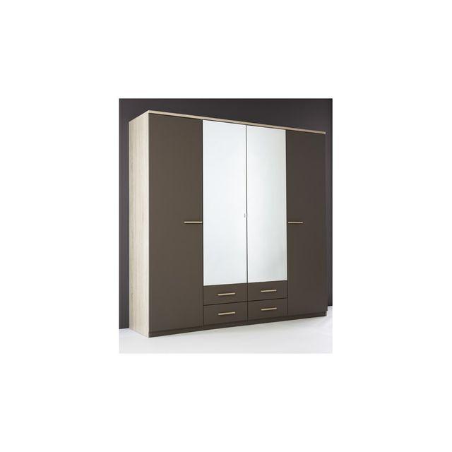 Rocambolesk - Armoire 4 Portes Ouvrantes+2 Miroirs+4 Tiroirs \