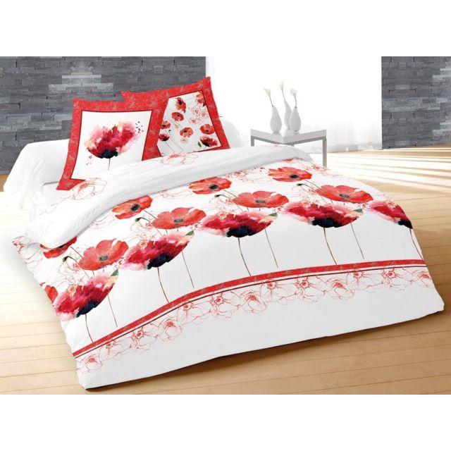 sans marque housse de couette 220 x 240 cm taies coquelicot blanc multicolor 240cm x. Black Bedroom Furniture Sets. Home Design Ideas