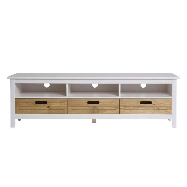 Tousmesmeubles - Meuble Tv 3 tiroirs 3 niches Blanc/Bois - Aya - pas ...