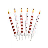 Creative - Bougies anniversaire rouges et blanches x12