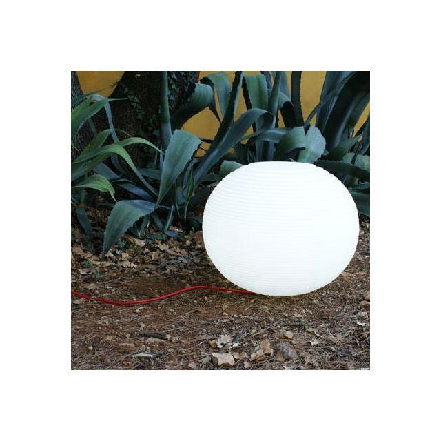 Slide Molly - Lampe à poser d'extérieur Blanc Ø52cm