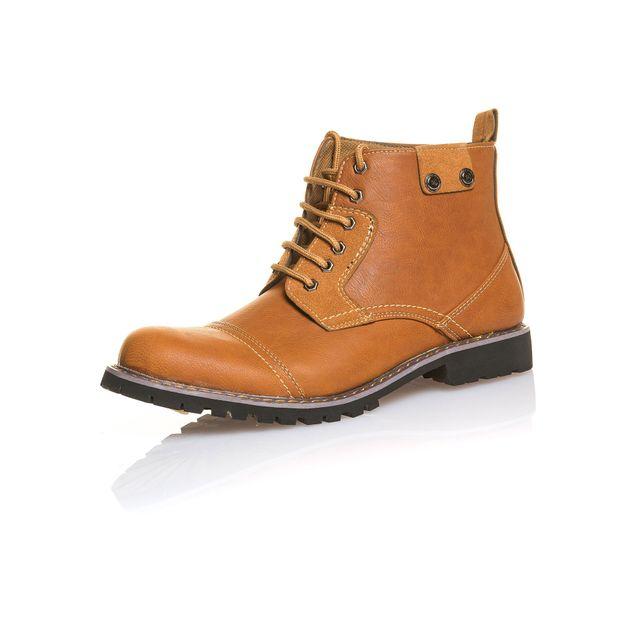 BLZ Jeans Bottines homme marron montante mode
