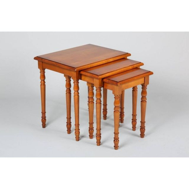 Inside 75 Lot de 3 tables gigognes Verne en merisier de style Louis Philippe
