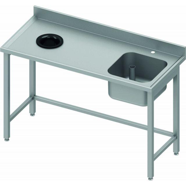 Materiel Chr Pro Table de Chef Inox - Bac à Droite - Profondeur 600 - Stalgast - inox 1000x600 600