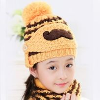 9216d8db245 Wewoo - Bonnet jaune Hiver Barbe Motif Masque Visage Protection + Écharpe +  Bonnets