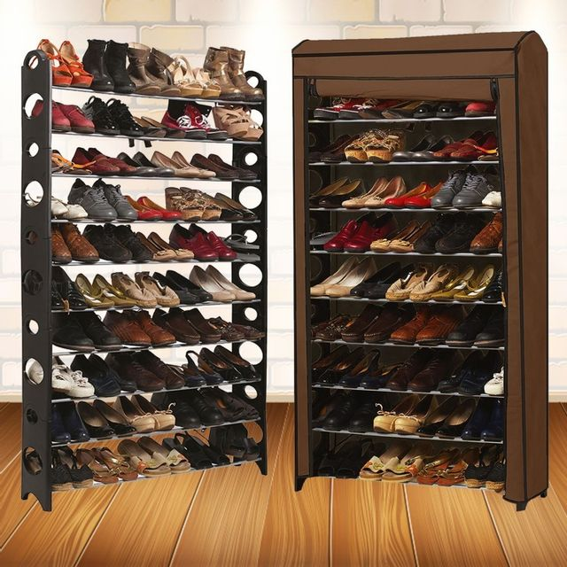 Idmarket etagère range <strong>chaussures</strong> 50 paires modulable housse chocolat