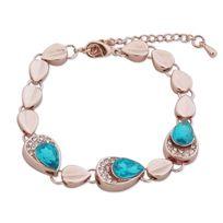 Totalcadeau - Bracelet gouttes dorées, strass et faux cristal turquoise bijou  fantaisie pas cher df50551c0b56