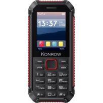 Konrow - Stone Lite - Téléphone Antichoc Certifié Ip65 - 2.4'' - Double Sim - Noir / Rouge