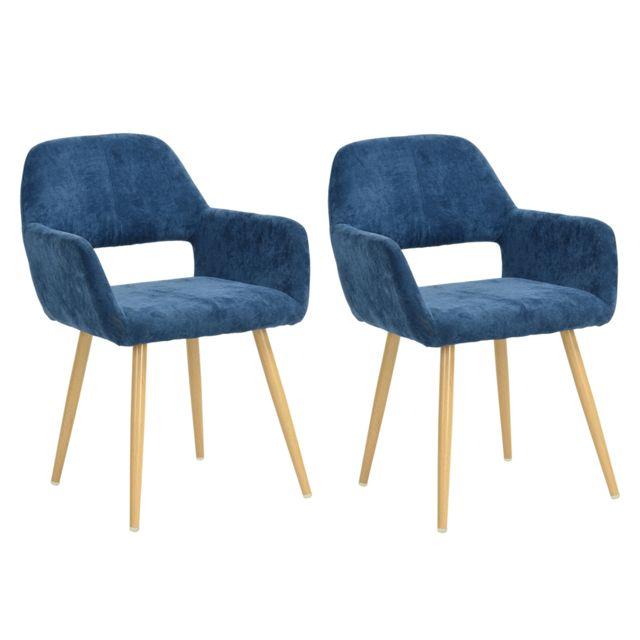 Mobilia Lot de 2 fauteuils scandinave bleus métal look bois