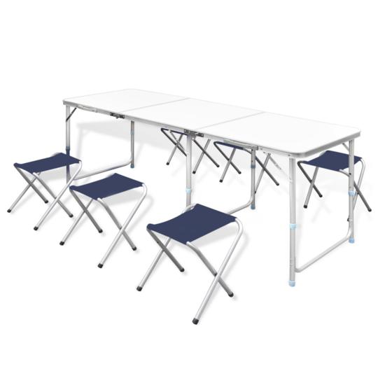 Rocambolesk - Superbe Table pliante de camping hauteur ajustable avec 6 tabourets Neuf