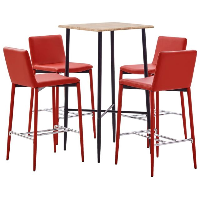 Icaverne Meubles de salle à manger collection Ensemble de bar 5 pcs Similicuir Rouge