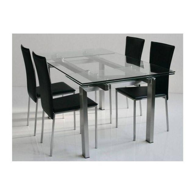 Inside 75 Table repas extensible New York plateau verre trempé piétement acier brossé 160 x 90 cm